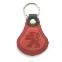 Kožená kľúčenka Peugeot červená
