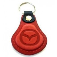 Kožená kľúčenka Mazda červená