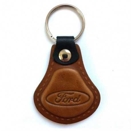 Kožená kľúčenka Ford hnedá