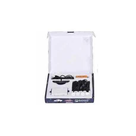 Parkovací asistent zadný - zvuková signalizácia + displej, 4x senzor BIELE