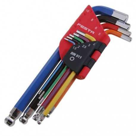 Sada farebných imbusových kľúčov 1,5-10 mm 9D, FESTA 18500