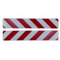 Samolepka reflexná - Pásik pruhovaný bielo-červený 23x4 cm/ 2 ks