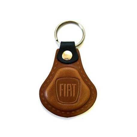 Kožená kľúčenka / prívesok na kľúče Fiat hnedá