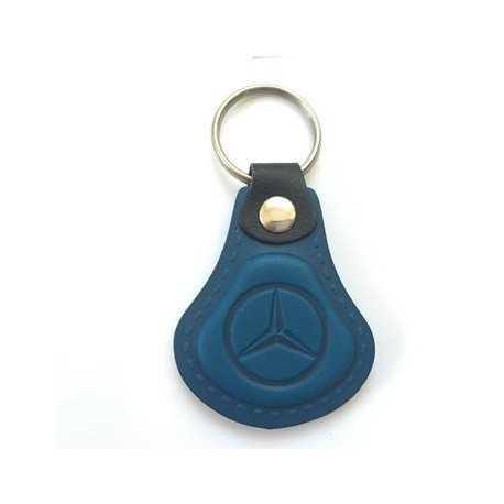 Kožená kľúčenka / prívesok na kľúče Mercedes modrá
