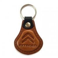 Kožená kľúčenka Citroen hnedá