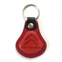 Kožená kľúčenka Citroen červená