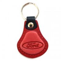 Kožená kľúčenka / prívesok na kľúče Ford červená