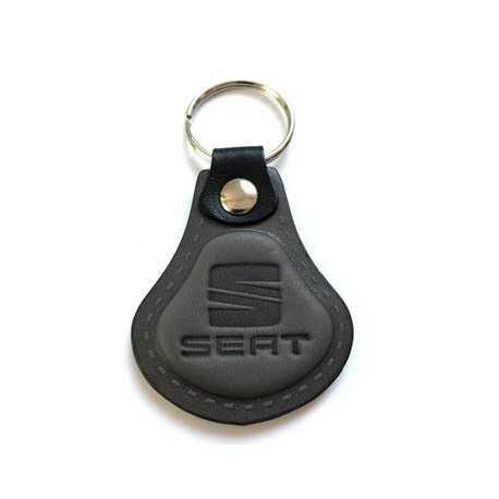Kožená kľúčenka / prívesok na kľúče Seat šedá