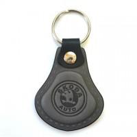 Kožená kľúčenka / prívesok na kľúče Škoda šedá