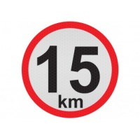 Obmedzená rýchlosť 15km, samolepka reflexná 15cm, (C5)