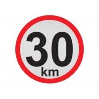Obmedzená rýchlosť 30km, samolepka reflexná 15cm, (C5)