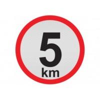 Obmedzená rýchlosť 5km, samolepka reflexná 15cm, (C5)