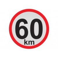 Obmedzená rýchlosť 60km, samolepka reflexná 15cm, (C5)