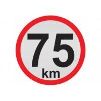 Obmedzená rýchlosť 75km, samolepka reflexná 15cm, (C5)