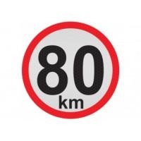 Obmedzená rýchlosť 80km, samolepka reflexná 15cm, (C5)