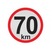 Obmedzená rýchlosť 70km, samolepka reflexná 20cm, (C6)