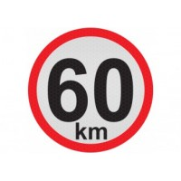 Obmedzená rýchlosť 60km, samolepka reflexná 20cm, (C6)