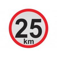 Obmedzená rýchlosť 25km, samolepka reflexná 20cm, (C6)