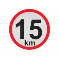 Obmedzená rýchlosť 15km, samolepka reflexná 20cm, (C6)
