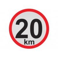 Obmedzená rýchlosť 20km, samolepka reflexná 20cm, (C6)