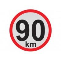 Obmedzená rýchlosť 90km, samolepka reflexná 20cm, (C6)